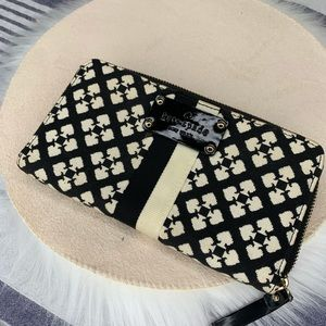 Kate Spade black and white fabric wallet